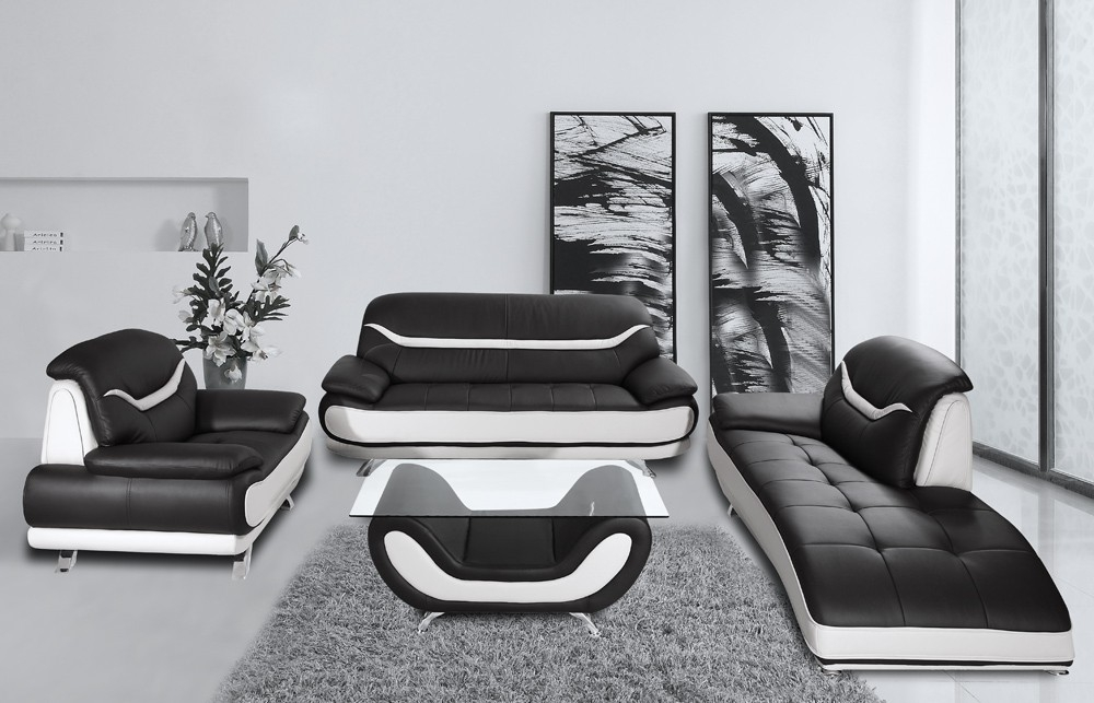 15 Black And White Leather Sofa Set Carehouse Inside Black And White Sofas (#1 of 15)
