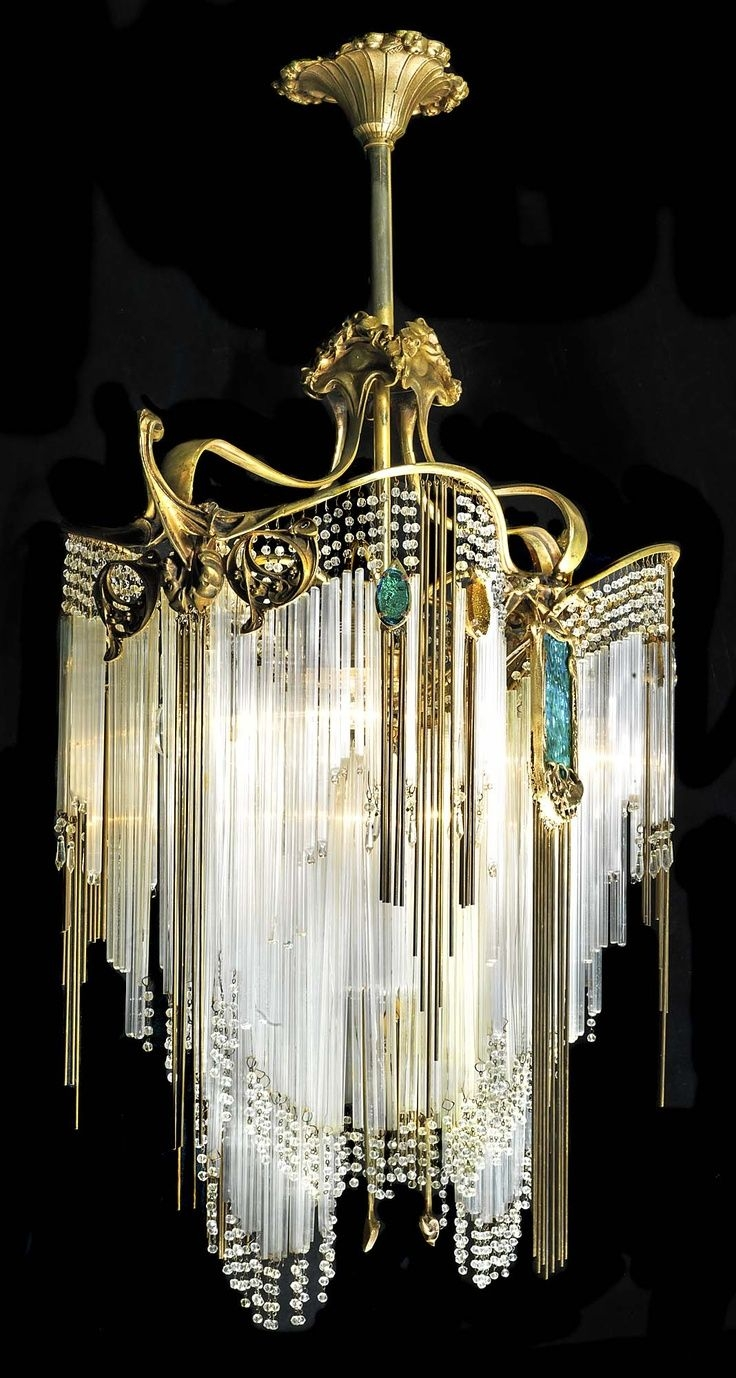 155 Best Images About Vintage Chandeliers And Lamps On Pinterest Throughout Large Art Deco Chandelier (#1 of 12)