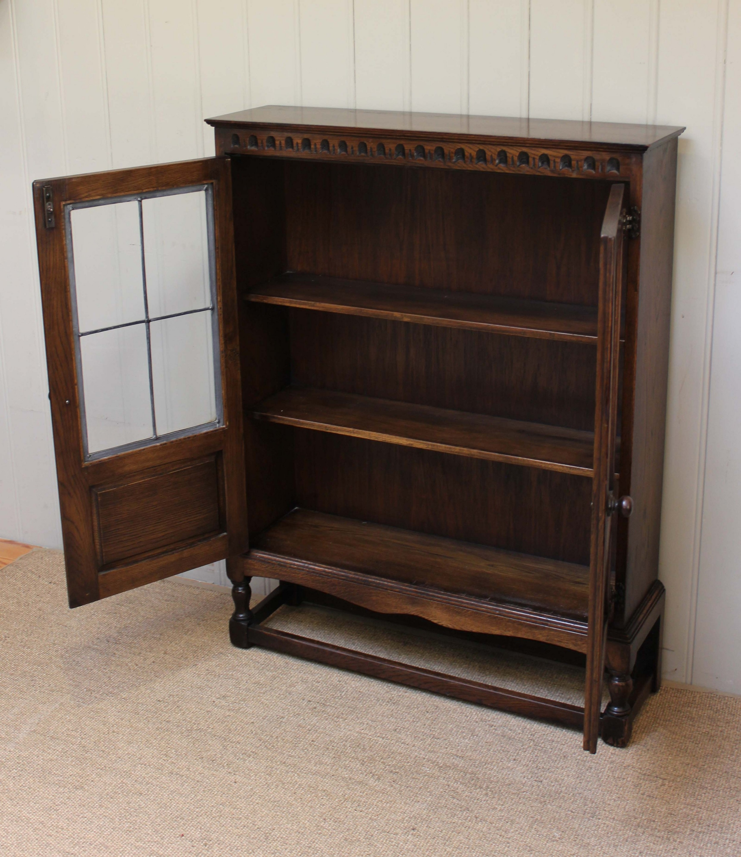 1930s Oak Glazed Bookcase C 1930 English From Worboys Antiques Pertaining To
