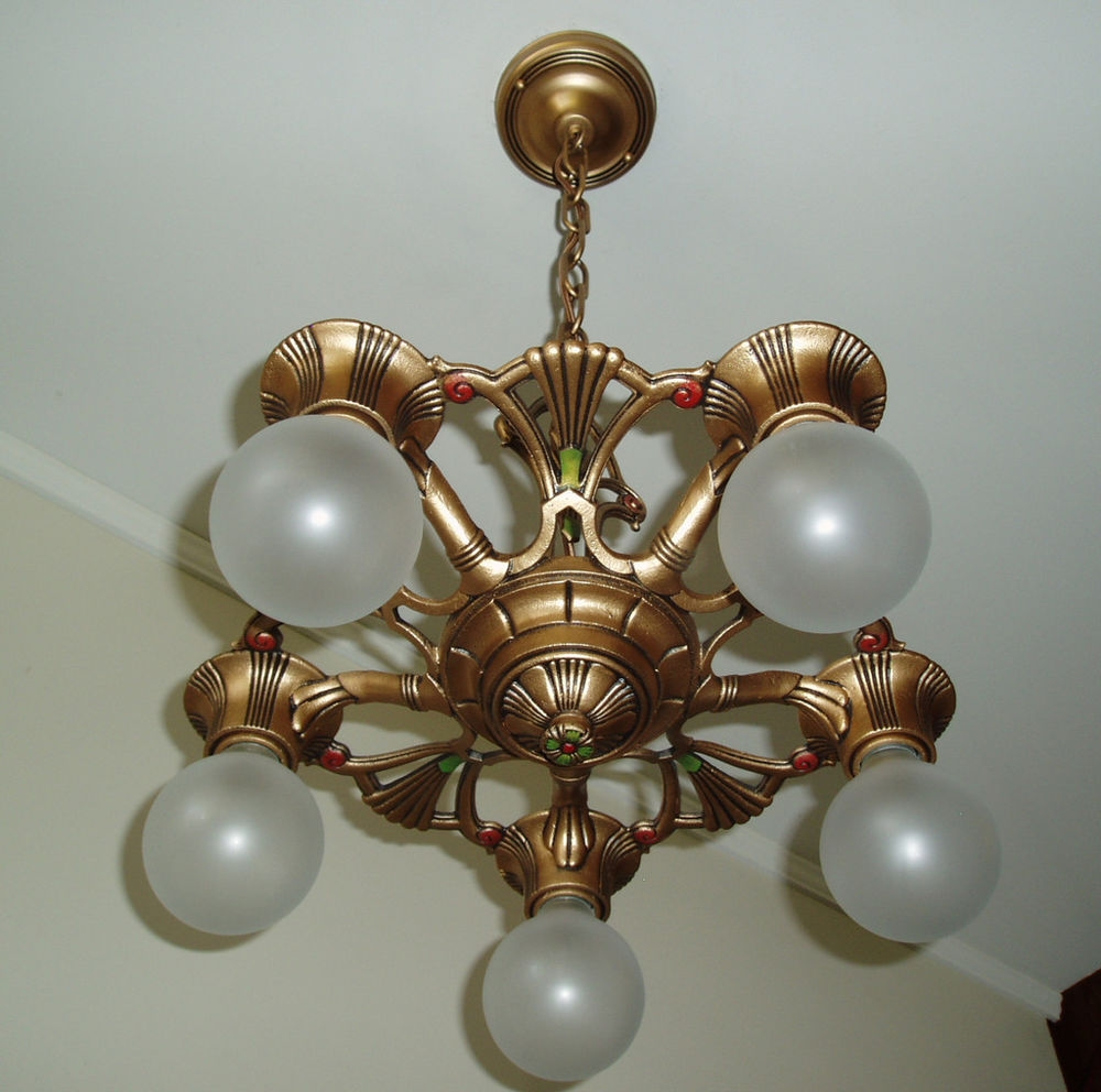 1930s Vintage Gold Art Deco Cast Iron Metal Ceiling Light Fixture With Regard To Cast Iron Antique Chandelier (#1 of 12)