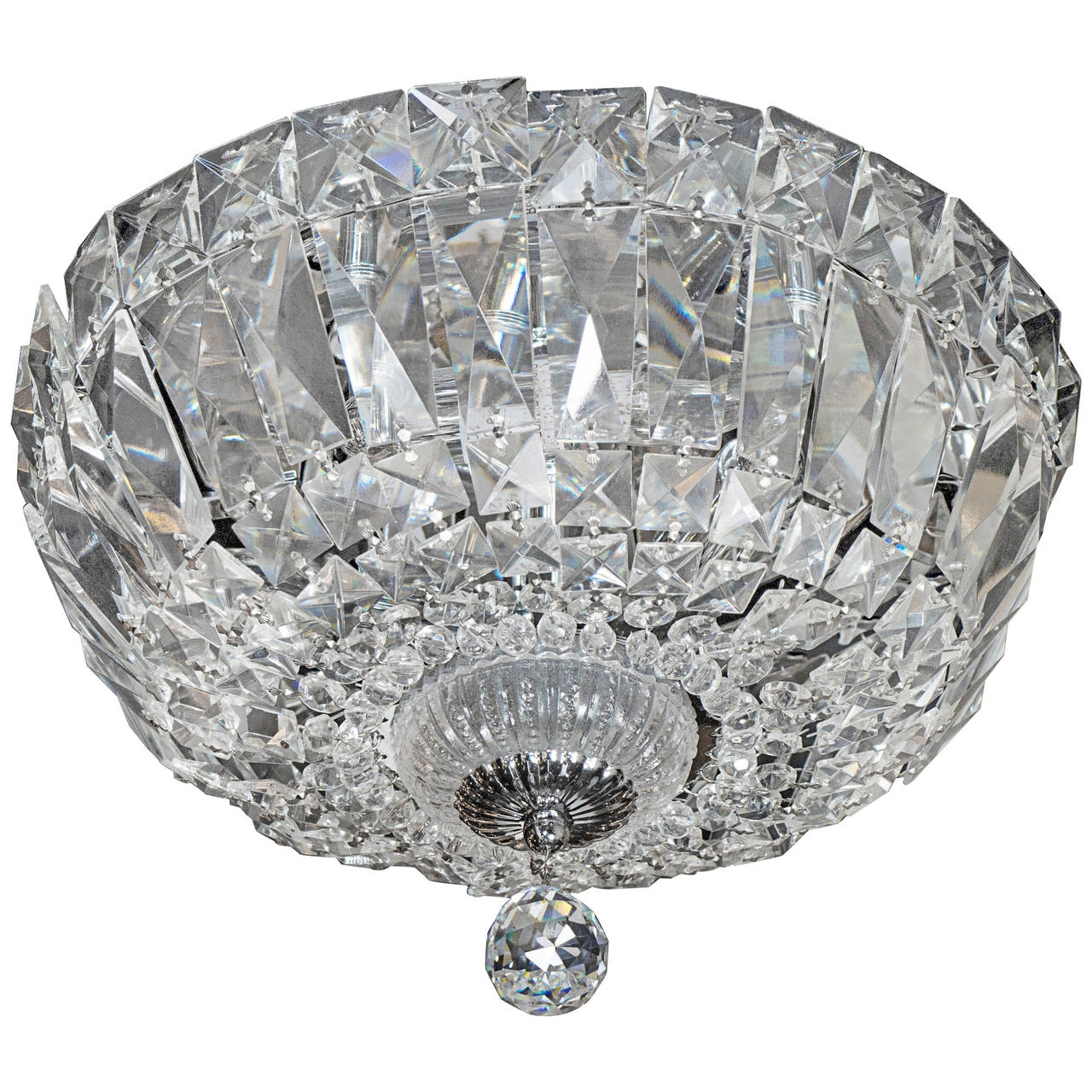 1940s Hollywood Cut Crystal Drop Down Flush Mount Chandelier For Pertaining To Flush Chandelier (#1 of 12)