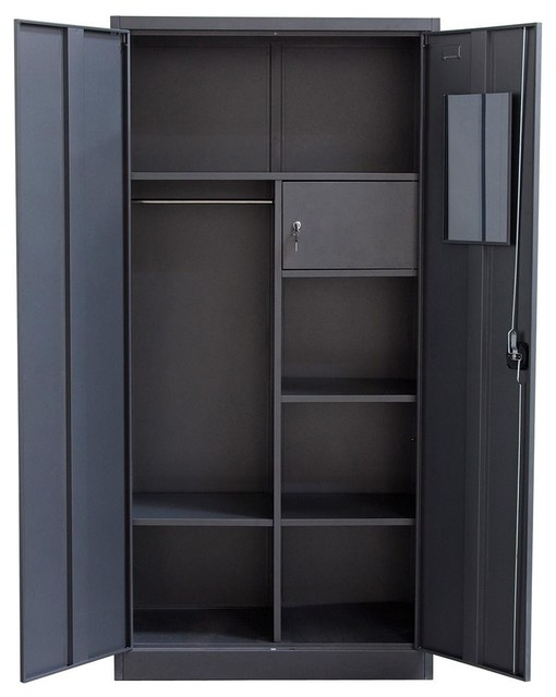 2 Door Metal Closet Contemporary Armoires And Wardrobes In Metal Wardrobes (View 1 of 15)