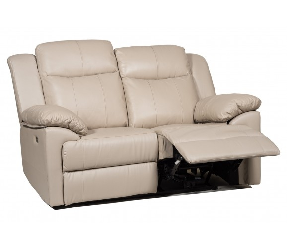 2 Seater Genuine Leather Electric Recliner Sofa Cream For 2 Seat Recliner Sofas (View 6 of 15)