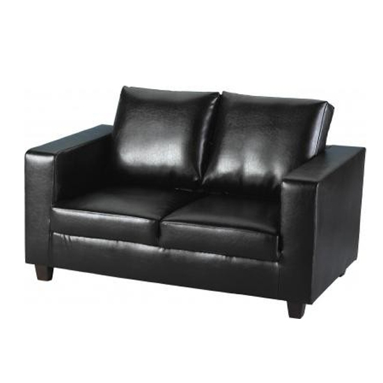 2 Seater Sofa In A Box Made Of Black Faux Leather For Black 2 Seater Sofas (#2 of 15)