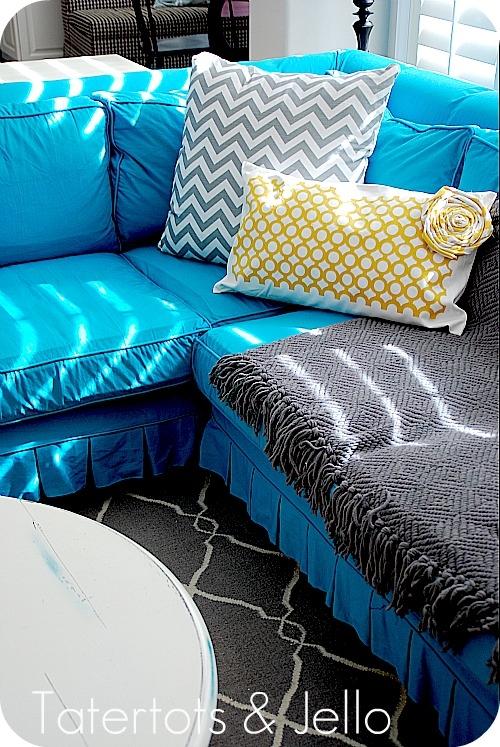 20 Diy Slipcovers Inside Teal Sofa Slipcovers (#1 of 15)