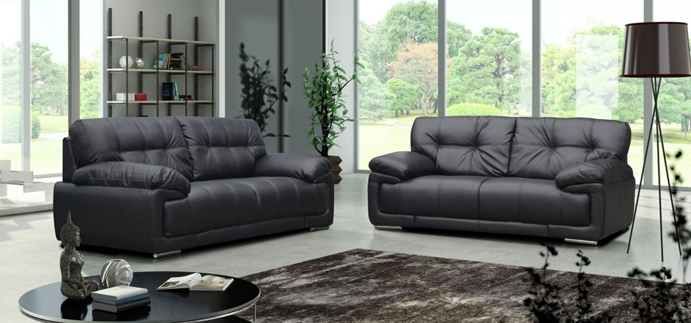 3 2 Seater Black With Regard To Black 2 Seater Sofas (#3 of 15)