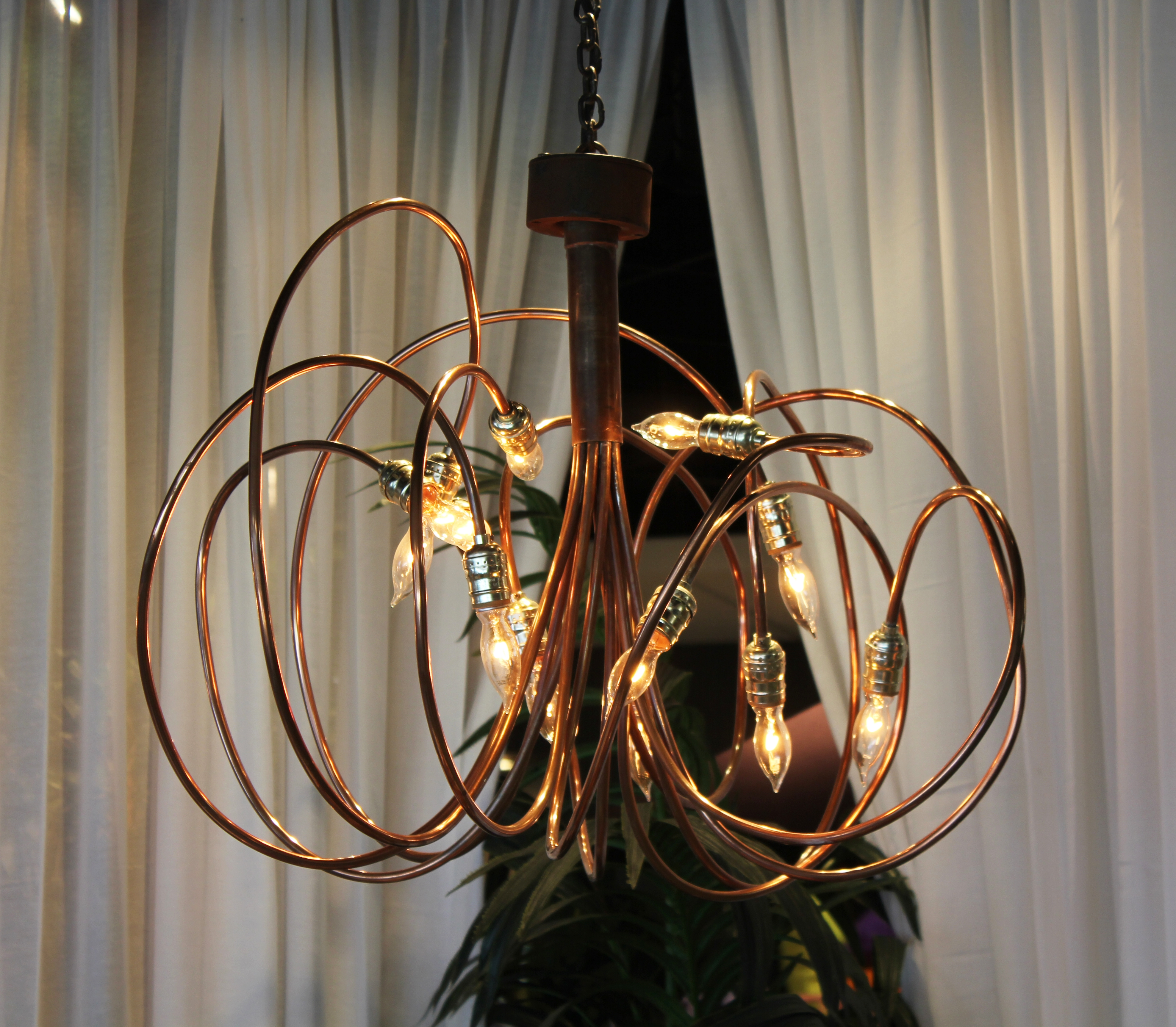 3 Copper Brass Chandelier Town Country Event Rentals Intended For Copper Chandelier (#1 of 12)