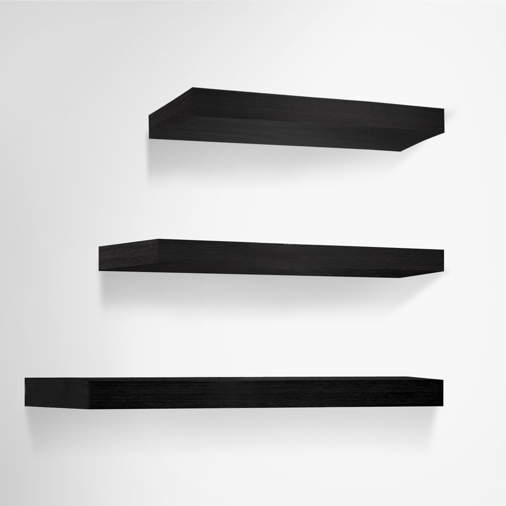 Inspiration about 3 Pcs Wall Floating Shelf Set Bookshelf Display Black Inside Floating Shelf 40cm (#12 of 15)