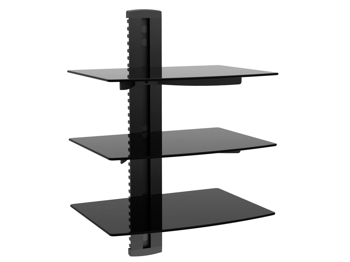 3 Tier Electronic Component Glass Shelf Wall Mount Bracket With Throughout Cable Glass Shelf System (#1 of 12)