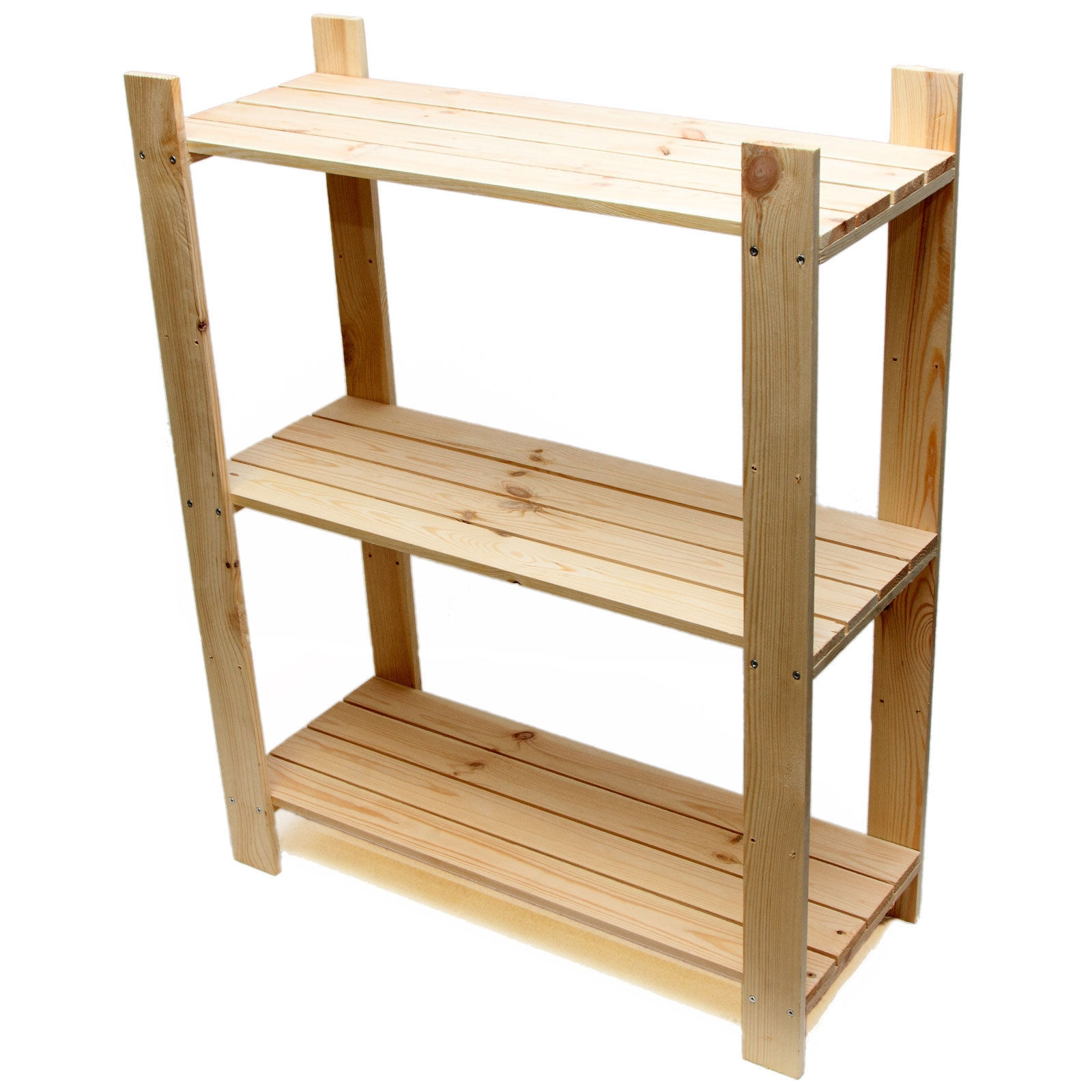 3 Tier Pine Shelf Unit Pine Shelves With 3 Wooden Shelves For Free Standing Shelving Units Wood (View 3 of 15)