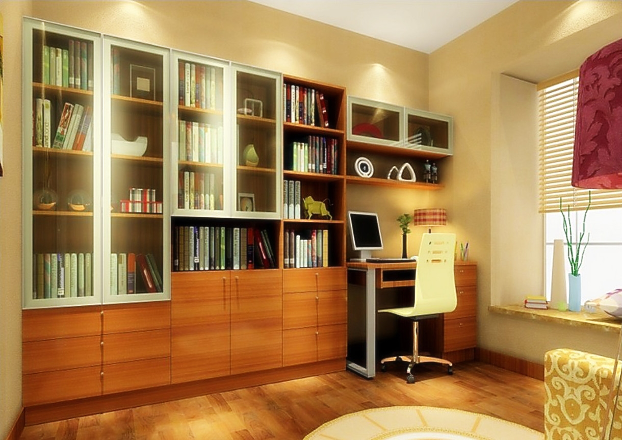 3d Software Render Study Room Design With Yellow Mesh Back Chair In Study Room Cupboard Design (View 2 of 15)