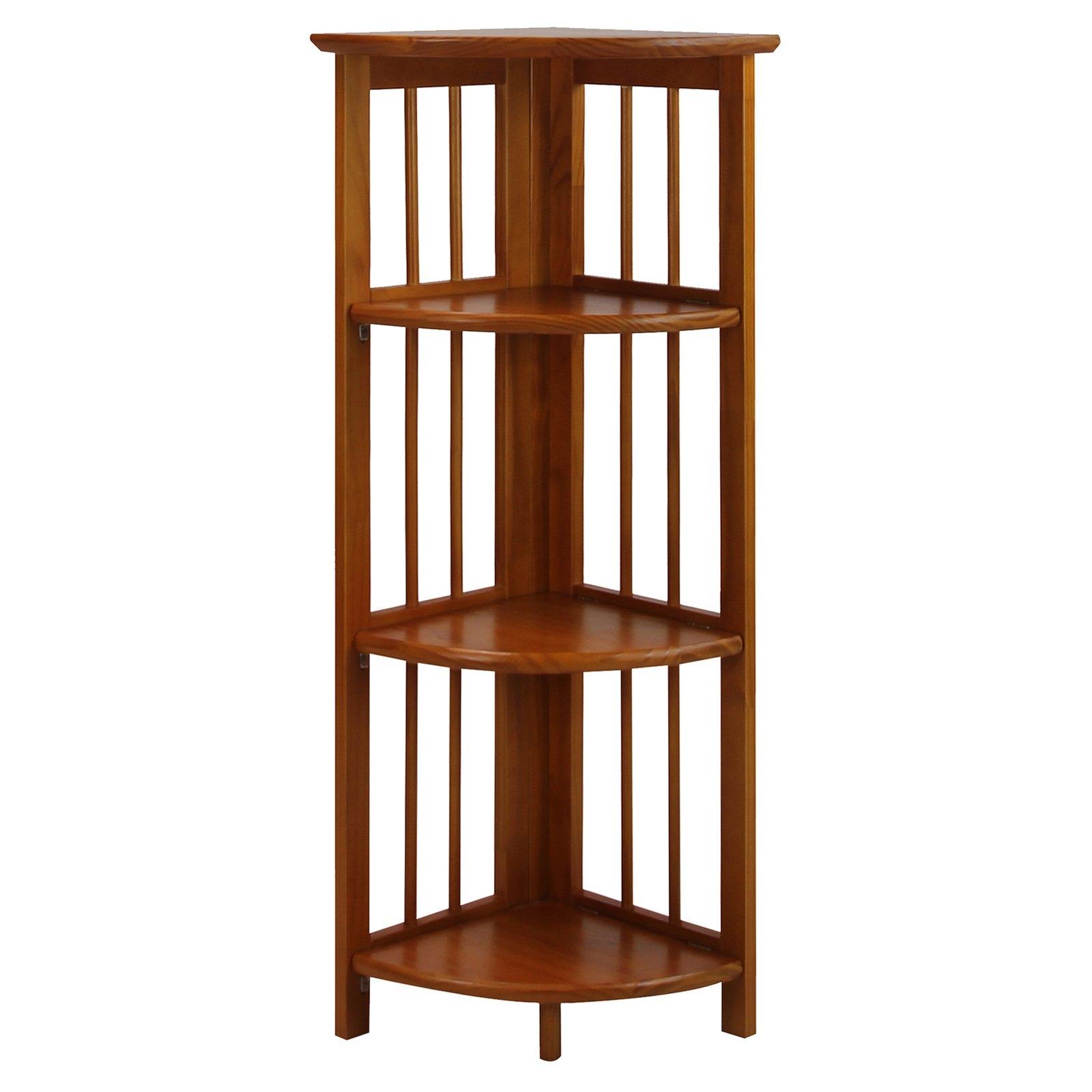 Inspiration about 4 Tier Corner Folding Bookcase Honey Oak Bookcases At Hayneedle In Corner Oak Bookcase (#8 of 15)