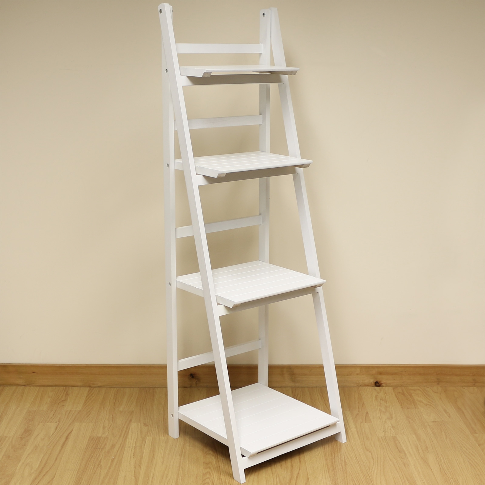 4 Tier White Ladder Shelf Display Unit Free Standingfolding Book Throughout White Ladder Shelf (View 8 of 15)
