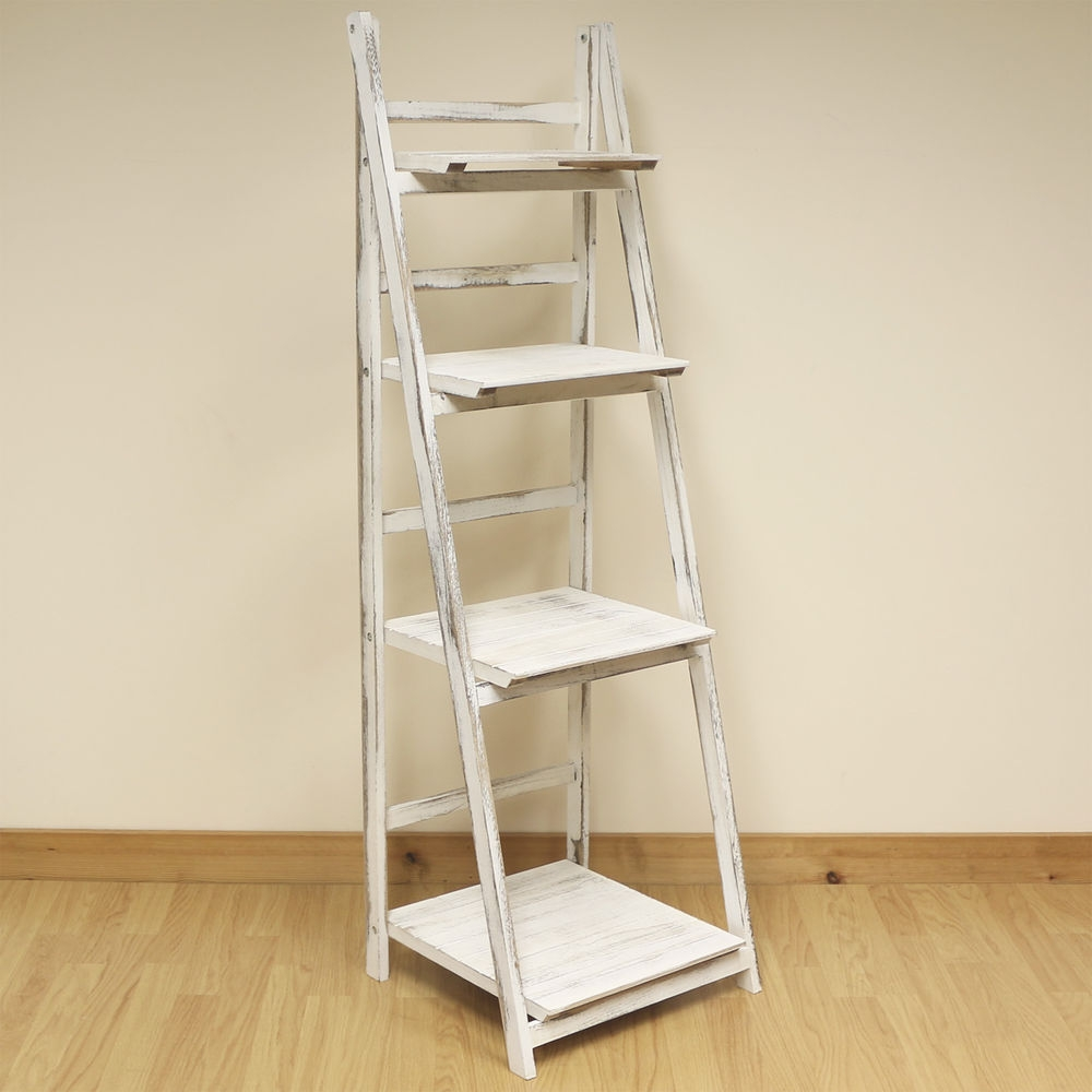 Inspiration about 4 Tier White Wash Ladder Shelf Display Unit Standingfolding Book In Free Standing White Shelves (#4 of 15)