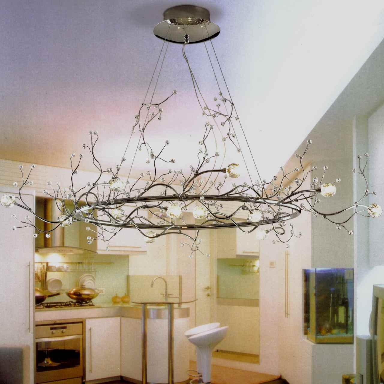 Inspiration about 40 Albero Modern Crystal Branch Oval Chandelier Polished Chrome 8 With Regard To Branch Chandeliers (#2 of 12)