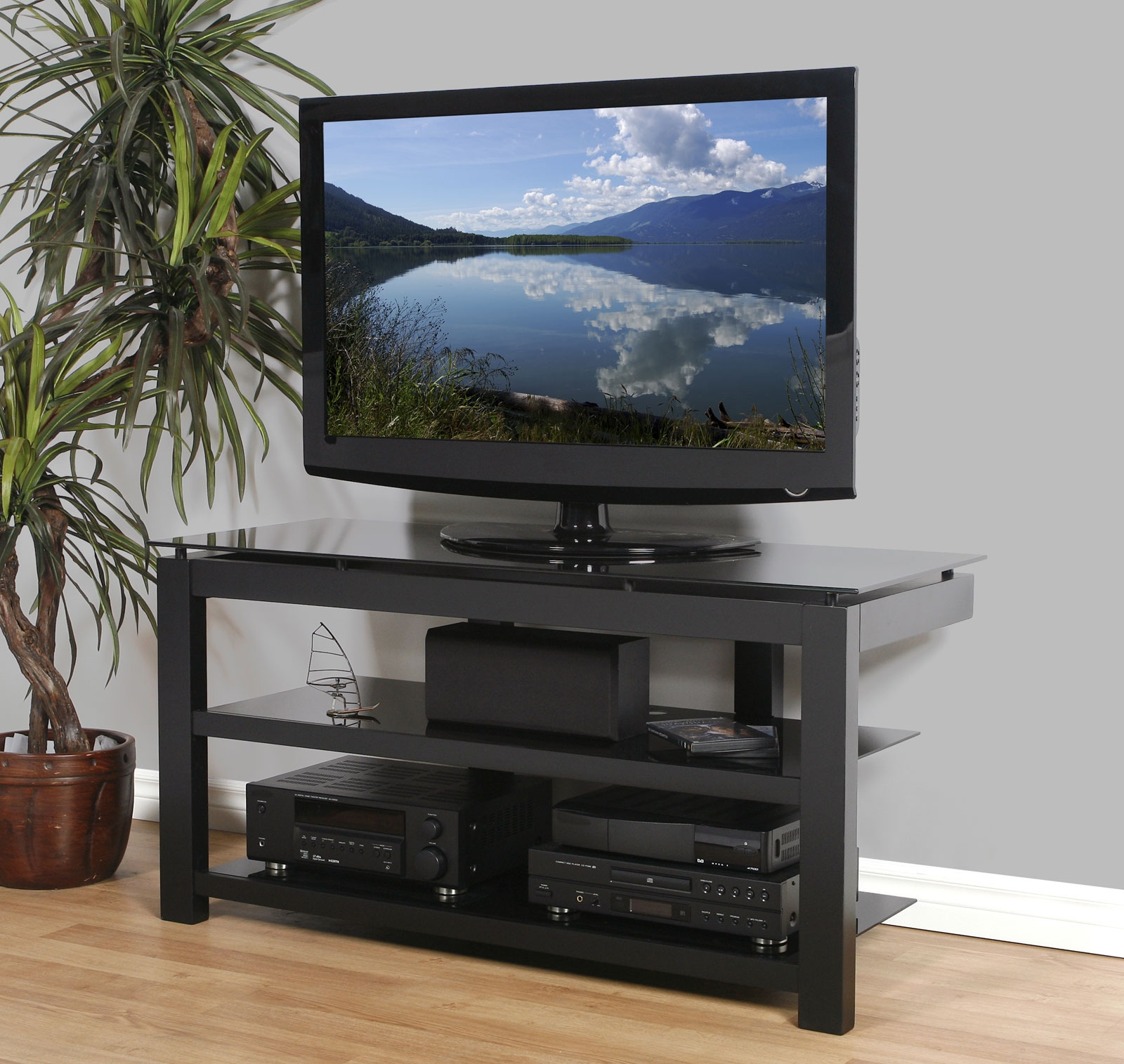 50 Inch Flat Screen Tv Stand Natural Wood Veneers And Black Throughout Flat Screen Shelving (#1 of 15)