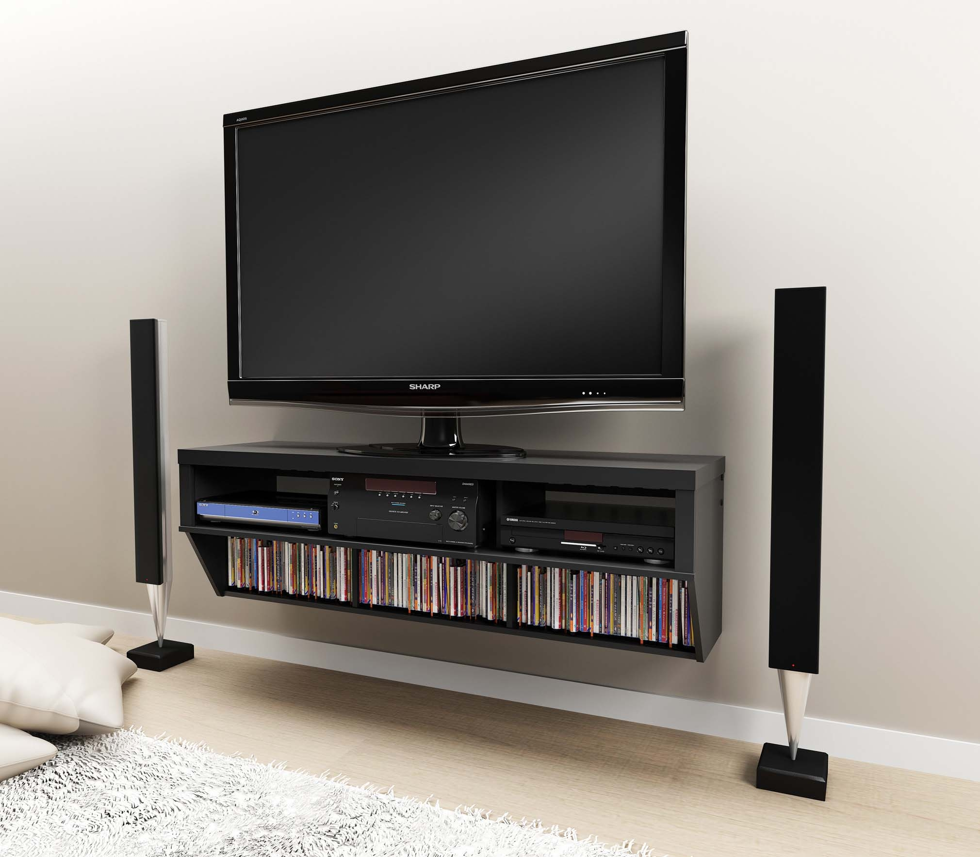 58 Wall Mounted Entertainment Console Lcdled Tv Stand Wav Intended For Flat Screen Shelving (#2 of 15)
