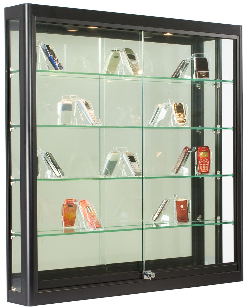 5ft Wall Mounted Display Case W4 Top Halogen Lights Mirror Within Wall Mounted Glass Display Shelves (#1 of 15)