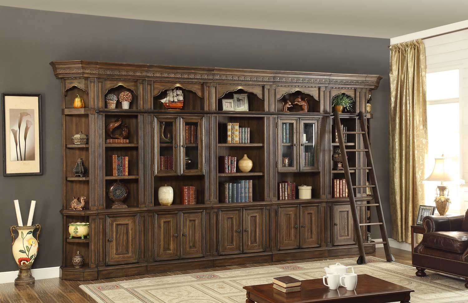 7 Piece Parker House Estate Aria Bookcase Library Wall Unit With Regard To Library Wall Units Bookcase (#2 of 15)