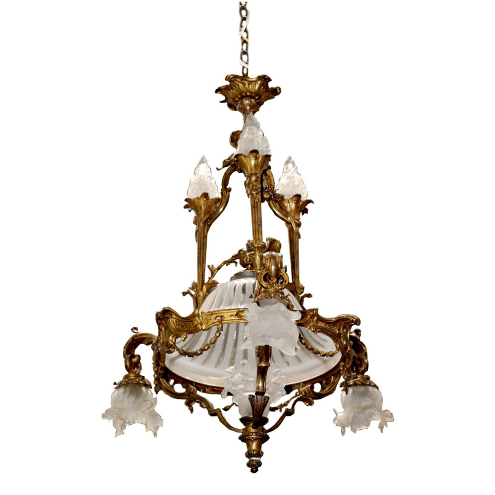 7016 French Bronze Art Nouveau Chandelier From Antiquariantraders In Large Art Deco Chandelier (#3 of 12)
