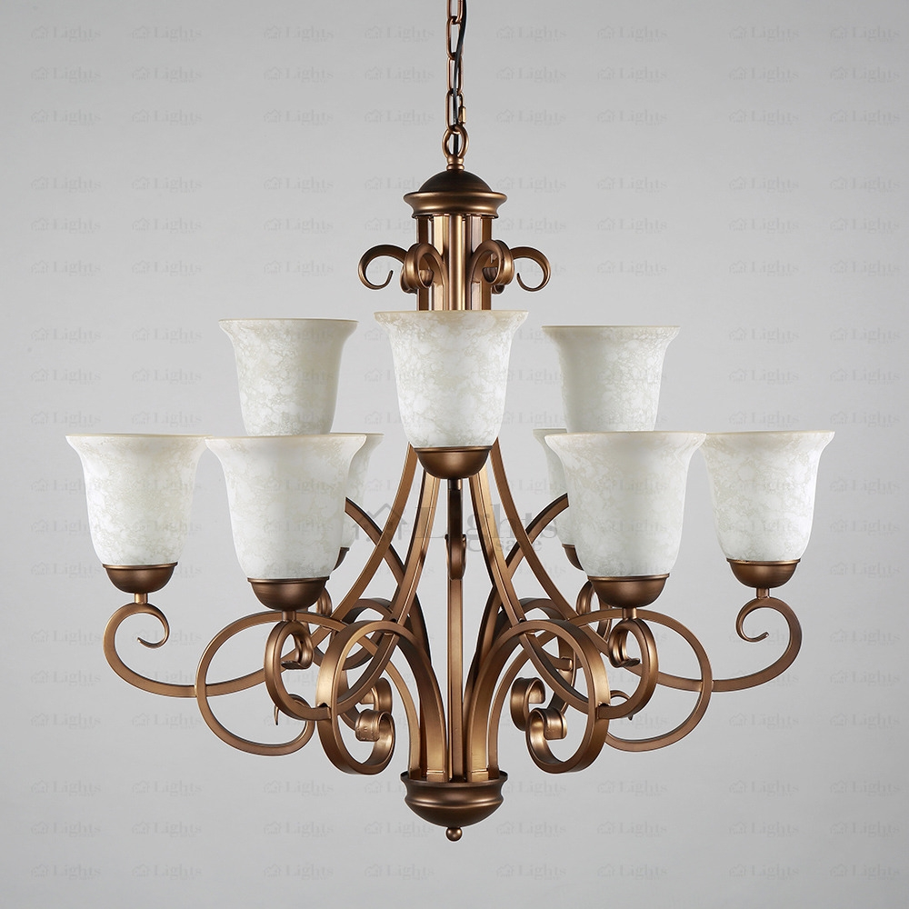 9 Light Glass Shade Two Tiered Shab Chic Chandelier In Shabby Chic Chandeliers (#2 of 12)