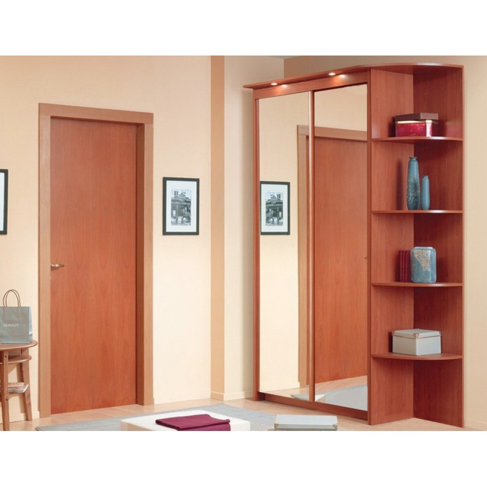 Inspiration about 92850 Baikal Mirror Sliding Doors Wardrobe With Corner Shelf In Wardrobes With Shelves (#35 of 264)