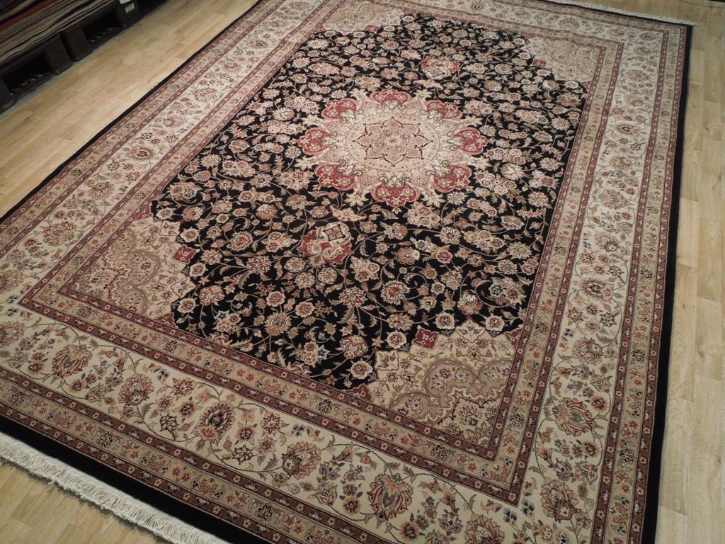 Inspiration about 9×12 Wool Silk Fine Area Rug Black Tabriz Ebay Intended For Wool And Silk Blend Area Rugs (#145 of 264)