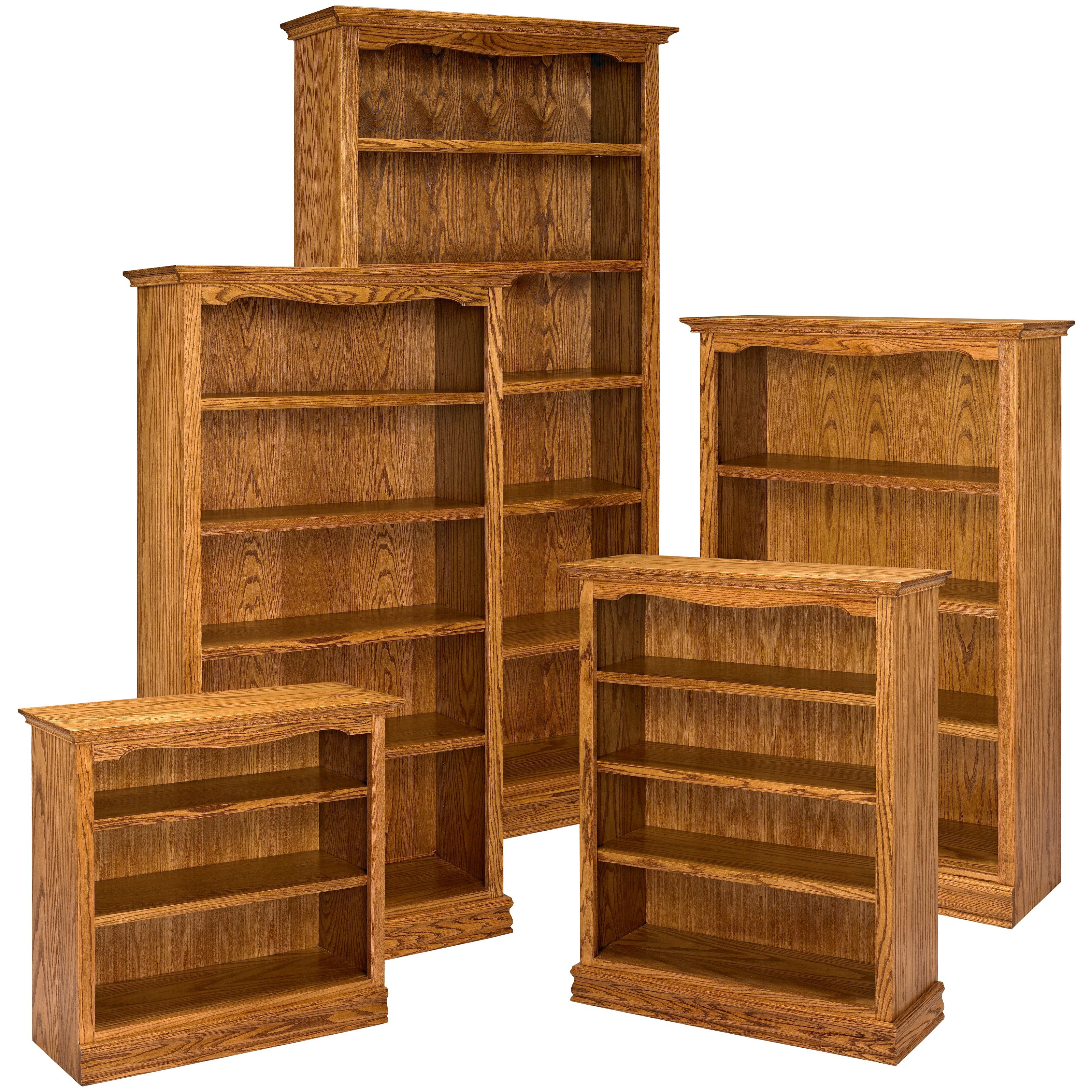 A E Solid Oak Americana Wood Bookcase Bookcases At Hayneedle With Solid Oak Shelves (#2 of 15)