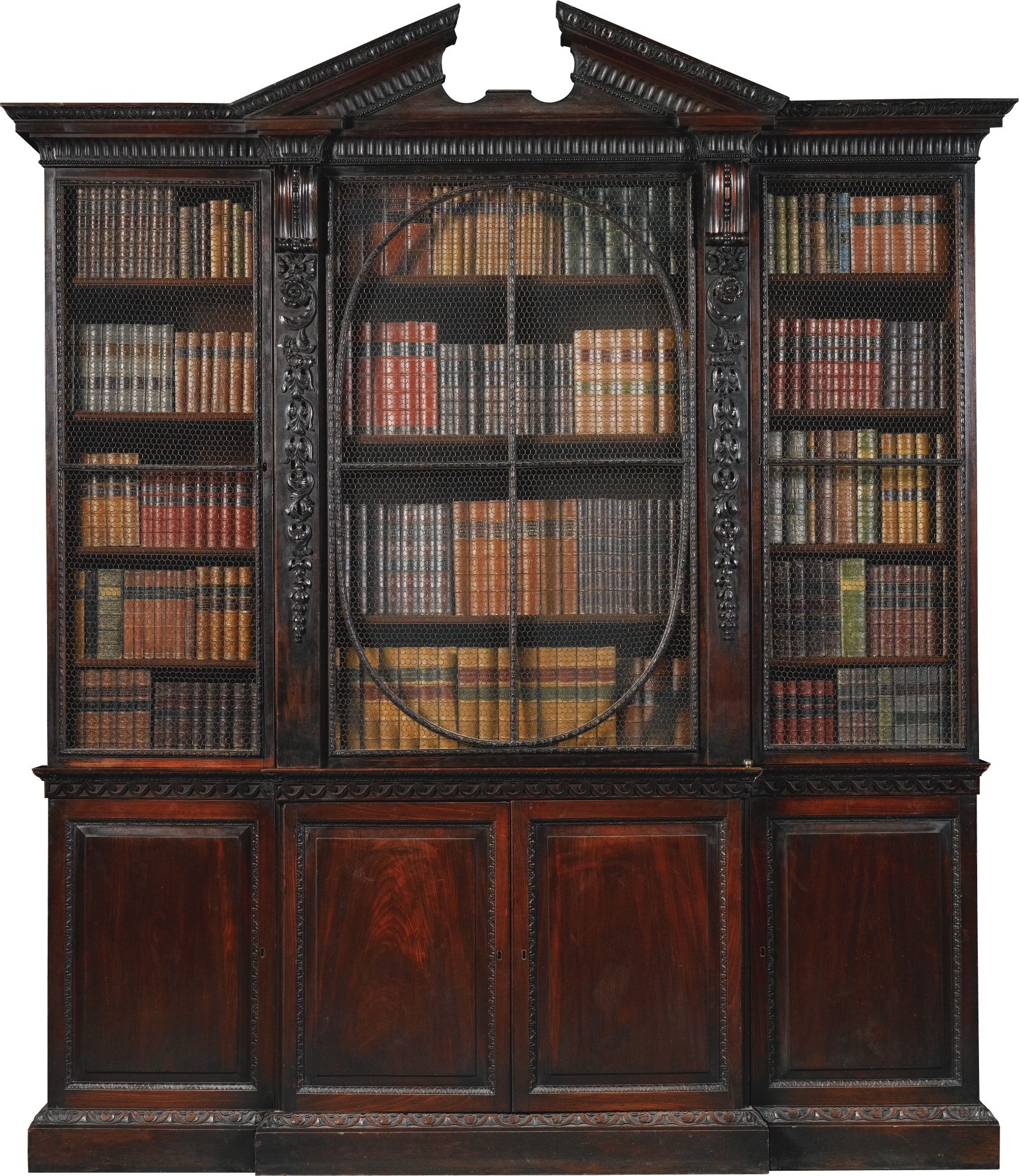 A George Ii Mahogany Breakfront Bookcase Circa 1740 Possibly To A Intended For Breakfront Bookcase (#2 of 15)