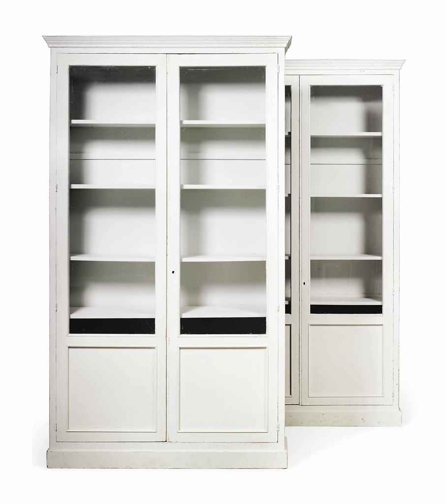 A Pair Of White Painted Bookcases Mid 20th Century Bookcase Intended For White Painted Bookcase (#3 of 15)