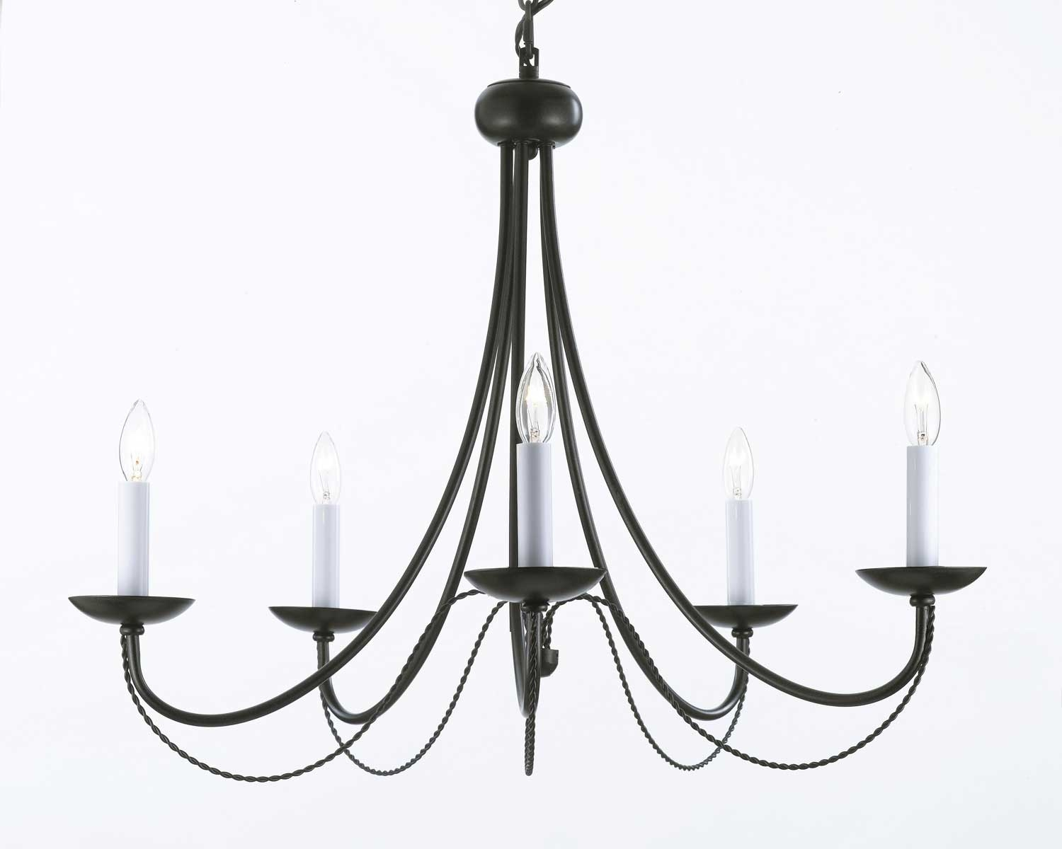 Popular Photo of Wrought Iron Chandelier