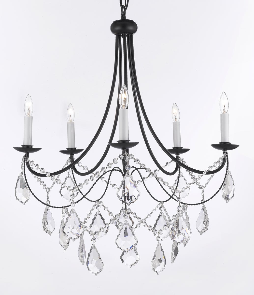 A7 B124035sw Gallery Wrought With Crystal Wrought Iron Intended For Wrought Iron Chandelier (#2 of 12)