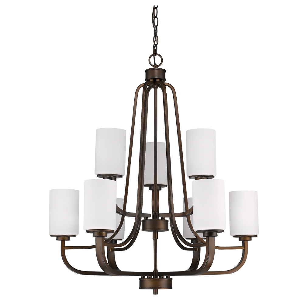 Addison Oil Rubbed Bronze Glass Shade Chandelier 28wx32h Regarding Bronze Modern Chandelier (#1 of 12)
