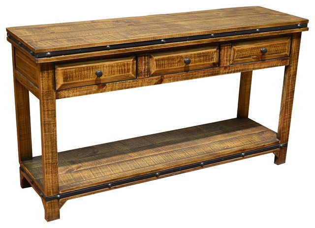 Addison Rustic Pine Wood Sofa Table Console With 3 Drawers Intended For Sofa Table Drawers (#1 of 15)