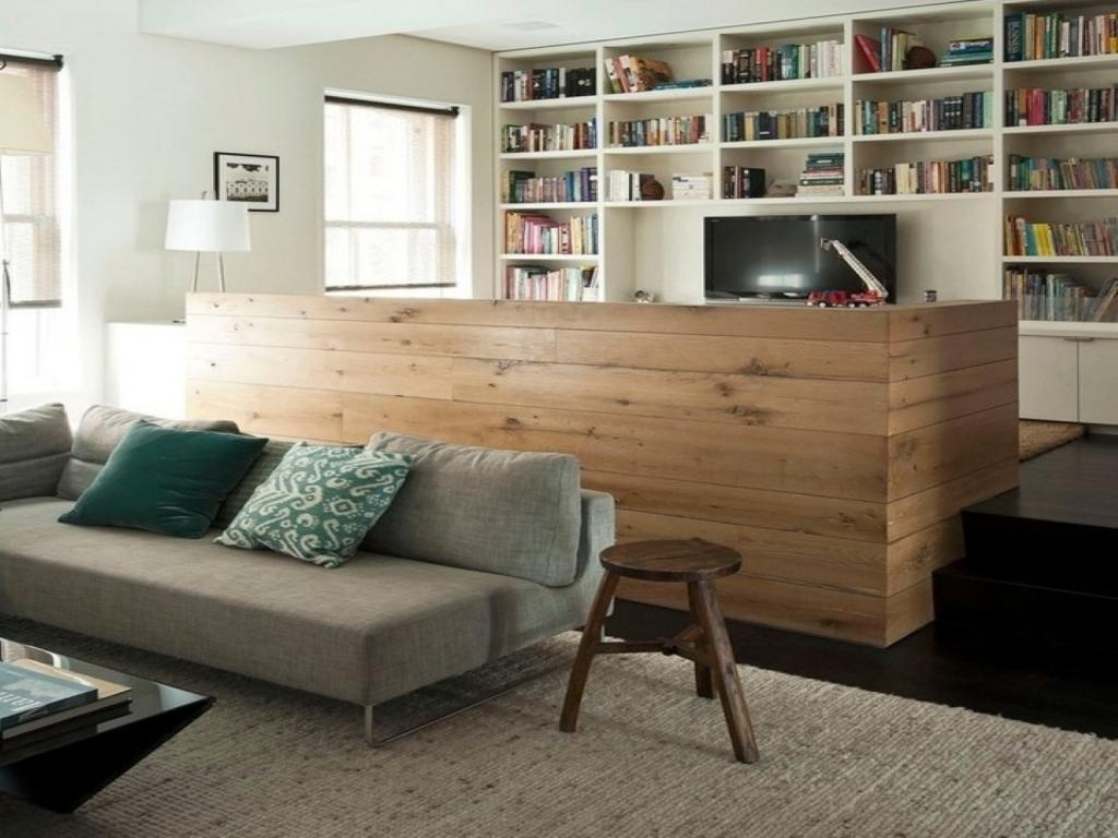 Adorabel Wooden Wall Partition Ideas Beside Sofa As Well Bookshelf Pertaining To Bookshelf With Tv Space (View 1 of 15)
