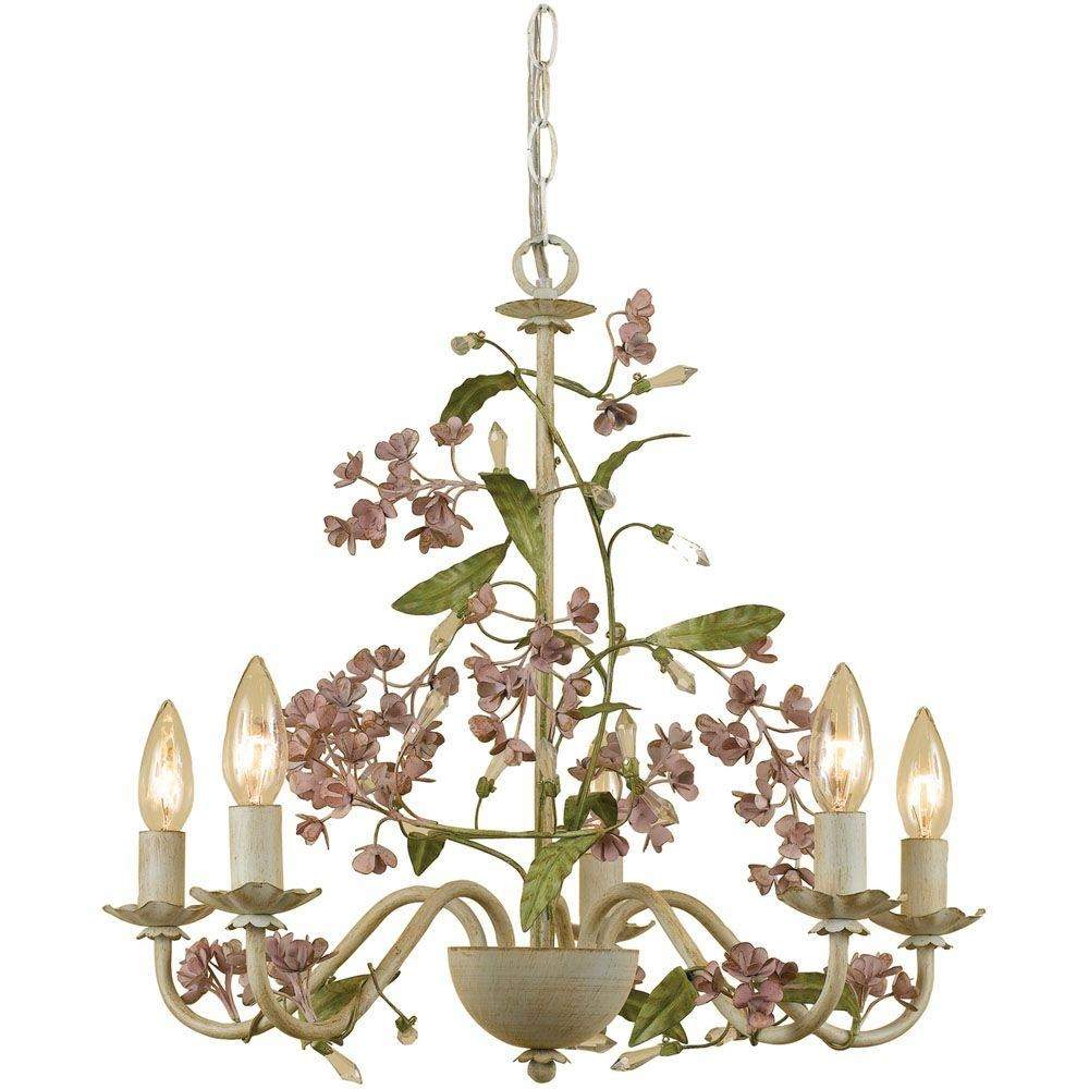 Af Lighting Grace 5 Light Antique Cream Chandelier With Floral With Cream Chandelier (#2 of 12)