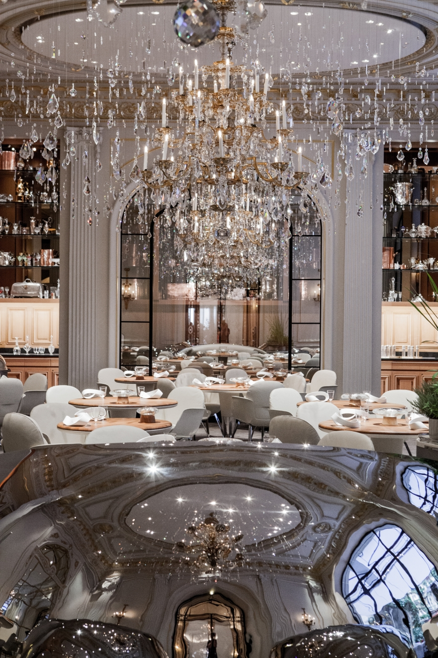Alain Ducasse Au Plaza Athne Jouin Manku Design Studio Throughout Restaurant Chandeliers (#2 of 12)