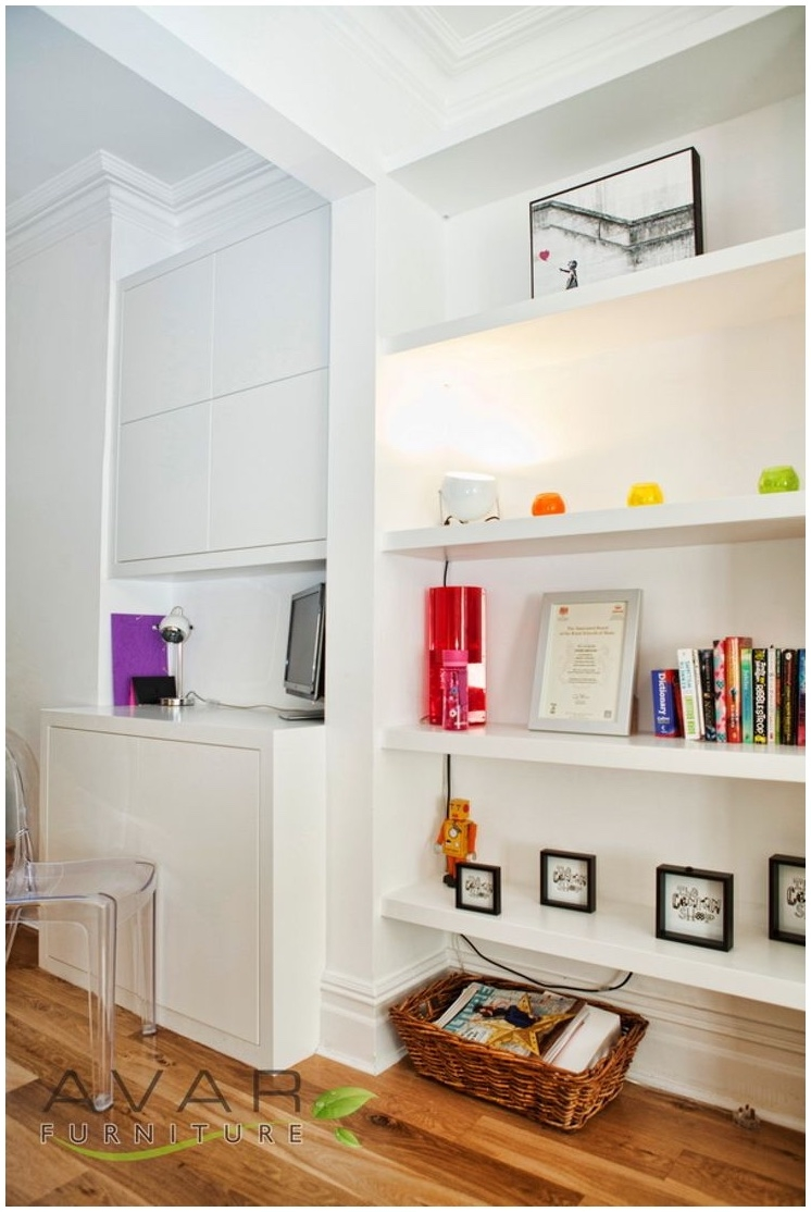 Alcove Wall Shelf Design For Storage In Living Space Modern In Fitted Shelving (View 2 of 15)