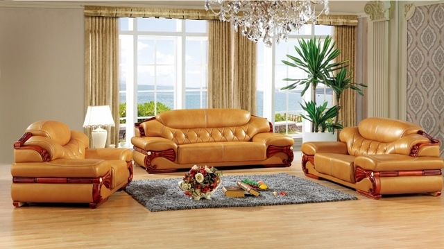 Aliexpress Buy Antique European Leather Sofa Set Living Room Pertaining To European Leather Sofas (#1 of 15)