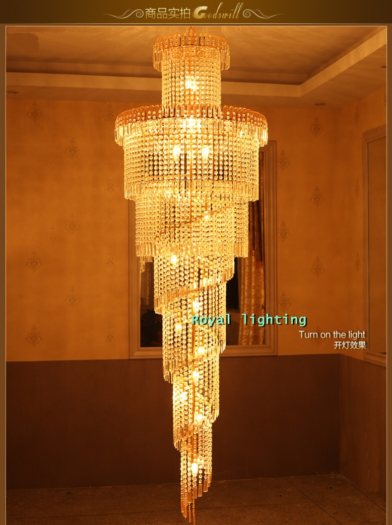 Aliexpress Buy Big Stairway Chandelier Long Crystal Led In Long Chandelier Lights (#3 of 12)