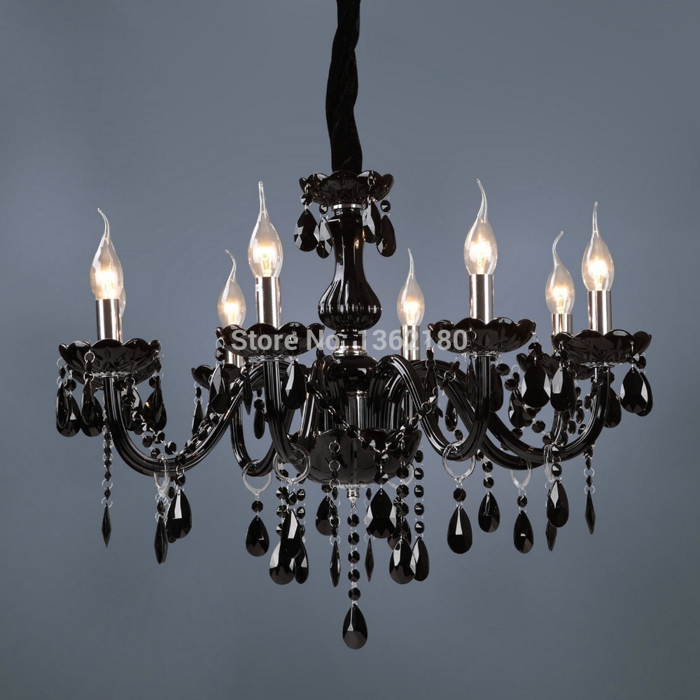 Aliexpress Buy Brand New Classic Black Crystal Glass Within Black Glass Chandelier (#1 of 12)