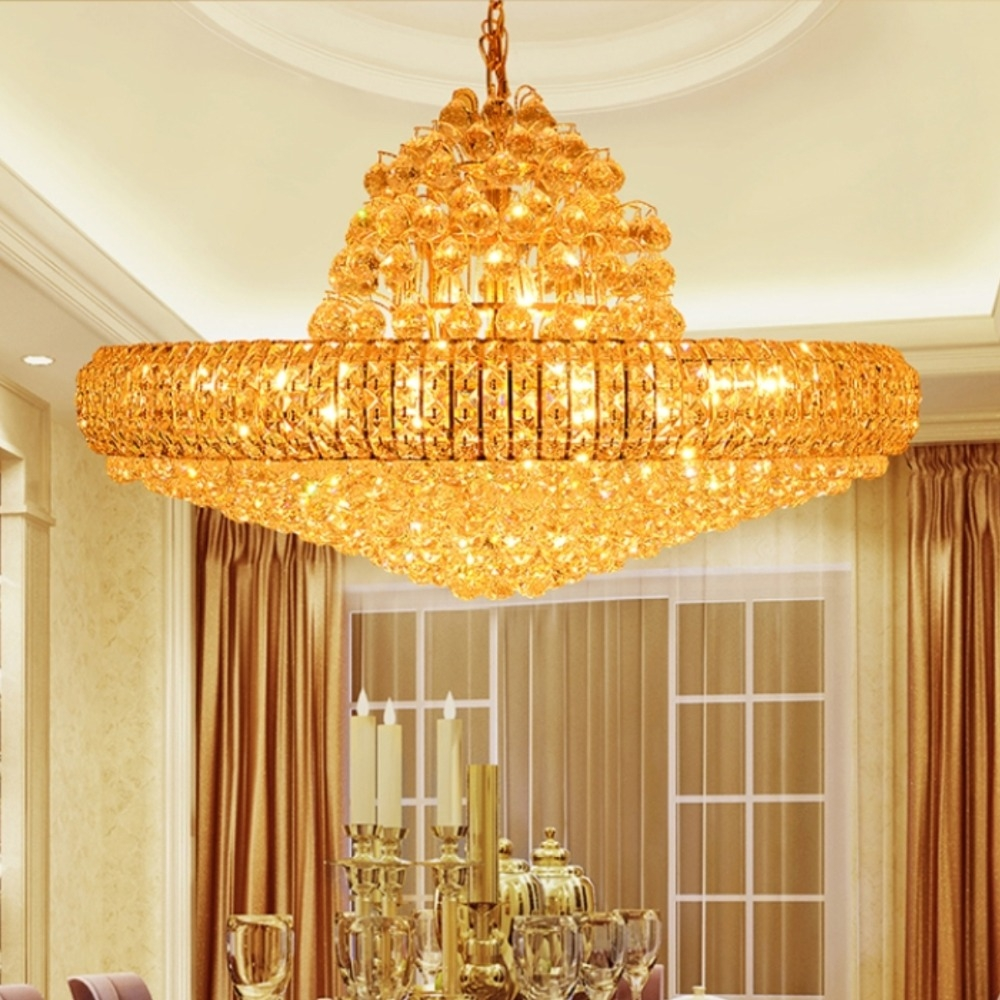 Aliexpress Buy Modern Gold K9 Crystal Chandelier Big Round With Regard To Big Chandeliers (#1 of 12)