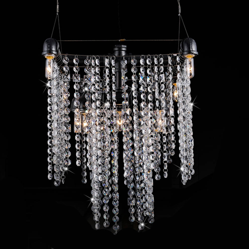 Aliexpress Buy Noble Luxurious Iron Art Crystal Pipe Within Crystal Waterfall Chandelier (#1 of 12)