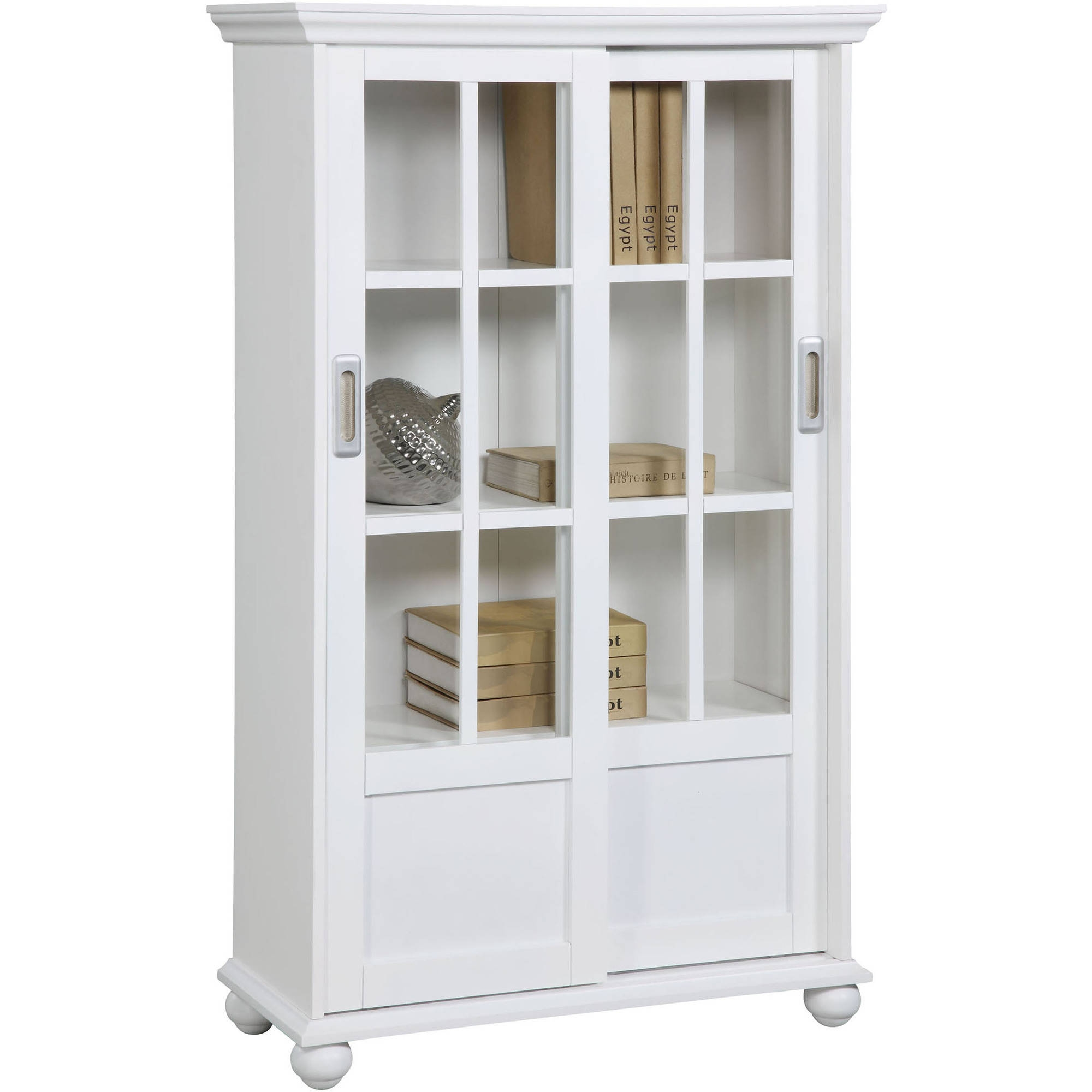 Altra Aaron Lane Bookcase With Sliding Glass Doors White Inside Bookcase With Doors (View 1 of 15)