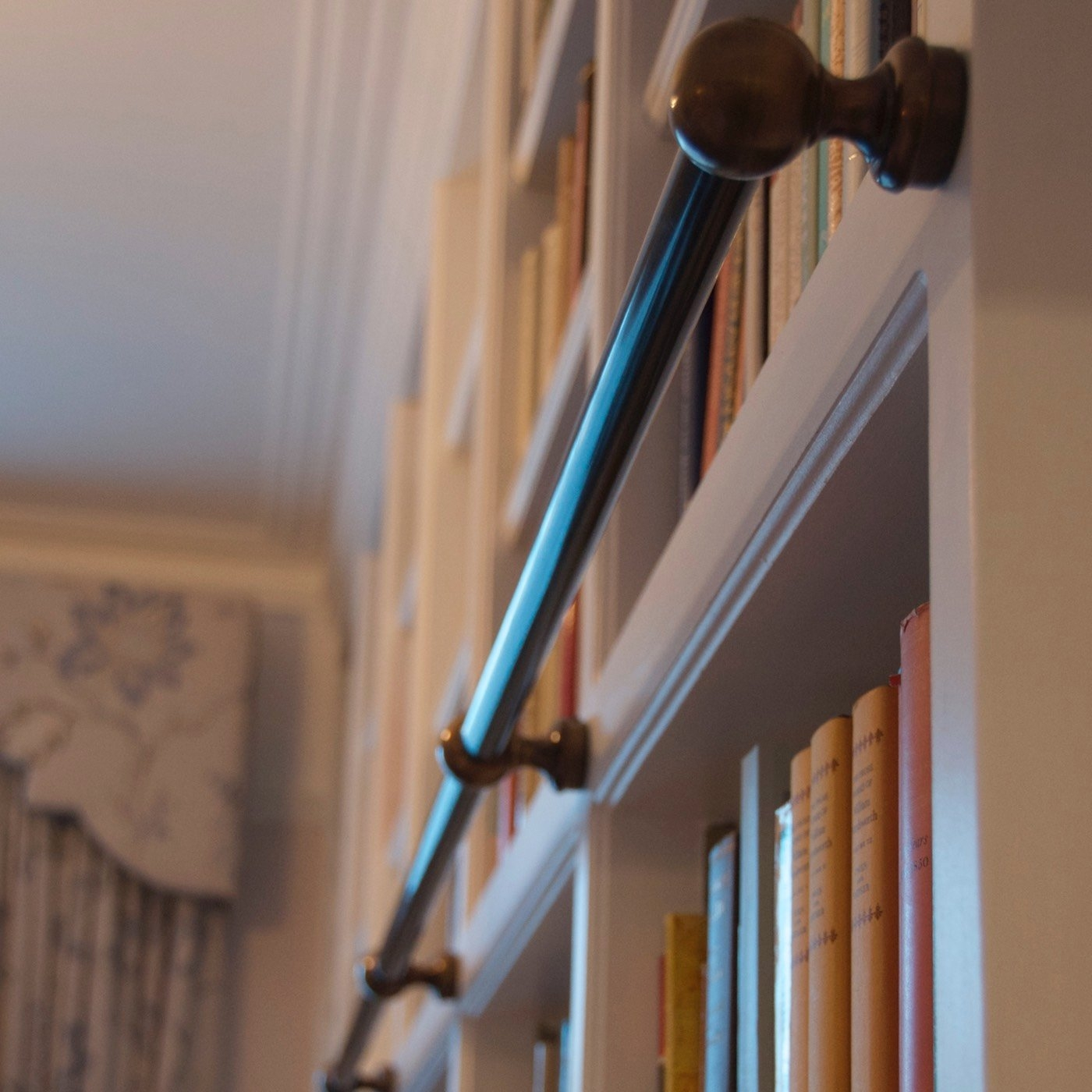 Amazing Wooden Library Ladders Uk 2 Bespoke Bronze Hook On Inside Wooden Library Ladders (#1 of 15)