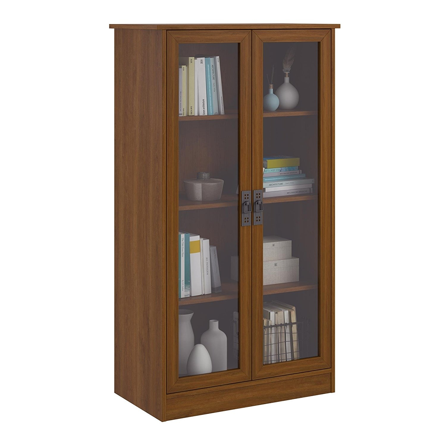 Amazon Altra Quinton Point Bookcase With Glass Doors Inspire Pertaining To Bookcase With Doors (View 2 of 15)