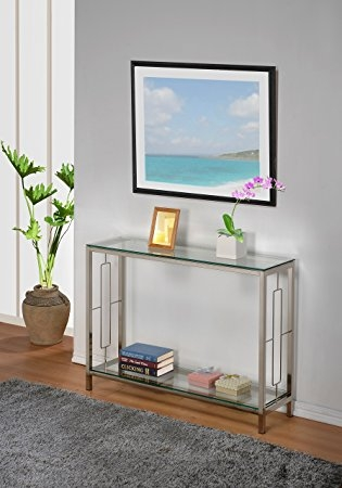 Amazon Chrome Metal Glass Accent Console Sofa Table With For Metal Glass Sofa Tables (#1 of 15)