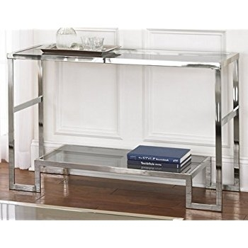 Amazon Contemporary Modern Chrome Metal And Glass Sofa Regarding Metal Glass Sofa Tables (#2 of 15)