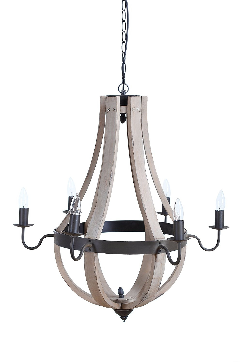 Amazon Creative Co Op Wood And Metal Chandelier With 6 Regarding Antique Looking Chandeliers (#1 of 12)