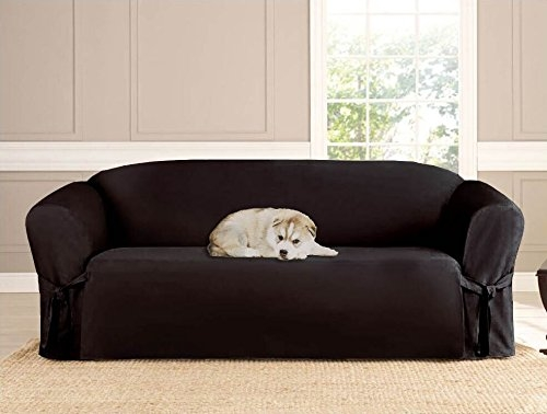 Amazon Kashi Micro Suede Slipcover For Sofa Black Home For Black Slipcovers For Sofas (#3 of 15)